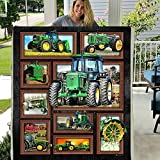 Green Tractor Machinery Front Flannel Back Sherpa Fleece Blanket Gift for Truck Driver Lover Wife Kids (X-Large 80 X 60 INCH)