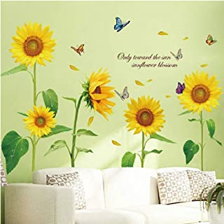 WMdecal Removable Large Flowers Vinyl Wall Decal Peel and Stick TV Wall Decoration Wall Art Big Size Mural Stickers for Li...