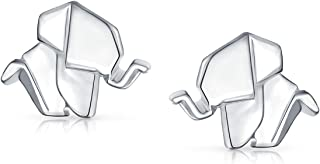 Tiny Geometric 3D Origami Good Luck Wise Elephant Stud Earrings For Women For Teen Polished Finish 925 Sterling Silver
