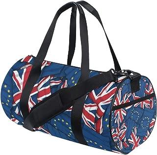Large Sports Gym Bag Eu UK Flag Pattern Background Sports Duffel Bag Gym Bag Overnight Travel Bag for Women & Men