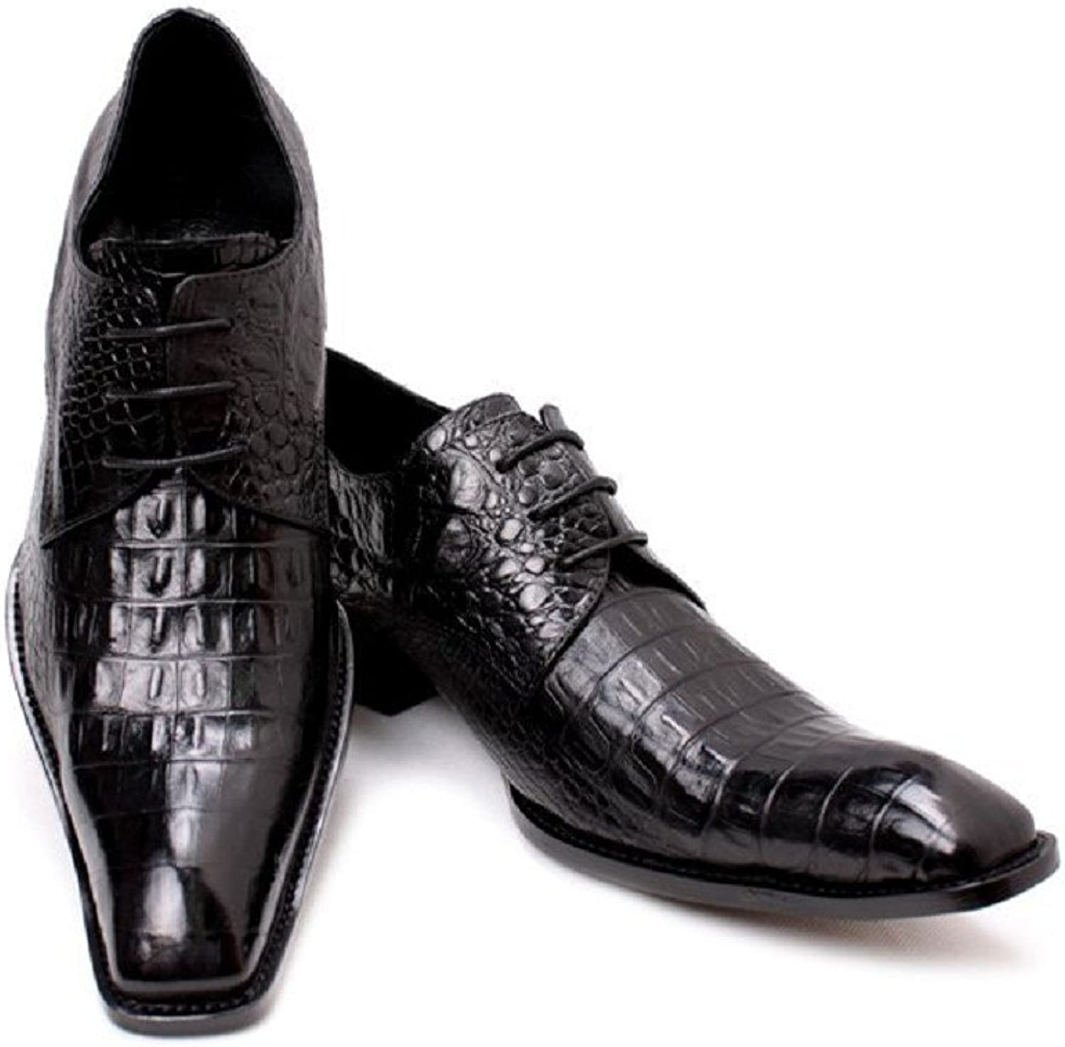 2 color Size 5-12 New Alligator Print Genuine Leather Dress Oxfords Mens shoes Brown