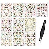 Frcolor 12 fogli Adesivi per unghie Natale Christmas Nail Stickers, Adesivo 3D fai-da-te Decalcomanie di adesivi per unghie,Tweezer incluso