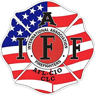 ION Graphics 4 Inch IAFF American Flag Firefighter Maltese Cross Vinyl Sticker Decal Size: 4x4 Inches