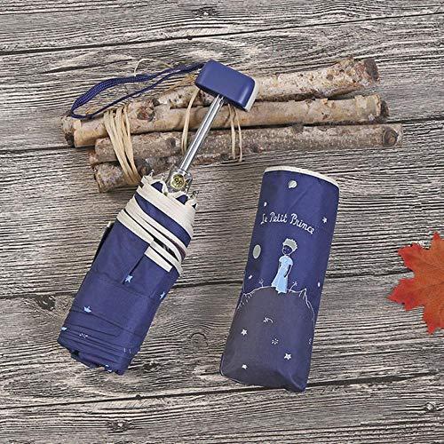 Kleiner Prinz Regenschirm Mini-Taschenschirme Anti-UV-Klappschirm Protable Black Coating Sonnenschutz Mädchen Kleine Sonnenschirme, Princenavy