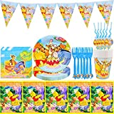 36Pcs Party Tableware Supplies - simyron Theme Tableware Set, Winnie Birthday Decorations Tableware Supplies Includes Winnie Plates, Cups, Napkins, Tablecloth, Straws, Forks and Pennants