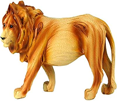 """StealStreet MME-931 Ss-Ug-Mme-931, 6"""" Prowling Lion Carving Faux Wood Decorative Figurine, Brown"""
