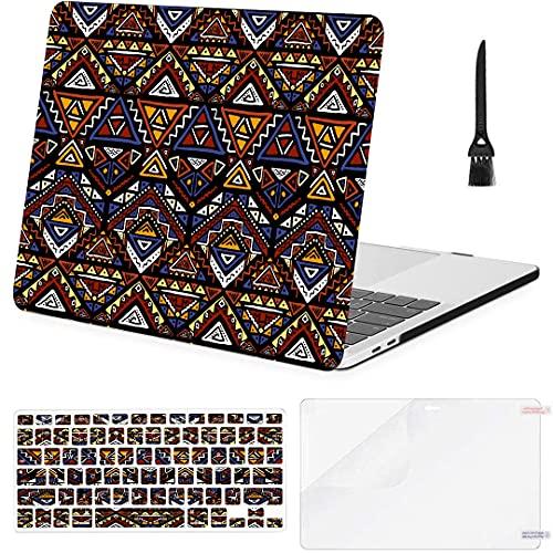 Carcasa rígida de plástico con Cubierta de Teclado para Mac Fundas de Libros Azteca Tribal sin Costuras de Colores Brillantes Compatible con Macbook Air 11'13' Pro 13'15' 16'2008-2020 Ver
