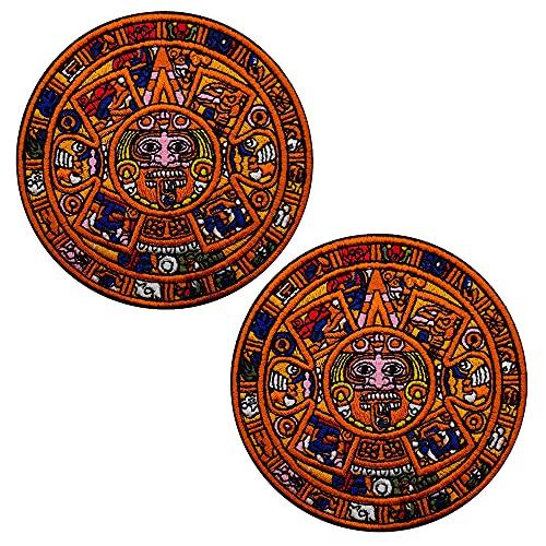 Parche de misterio de la profecía del Mundo - Aztecas Egipto India Maya bordado táctico moral parches insignias aplique de costura