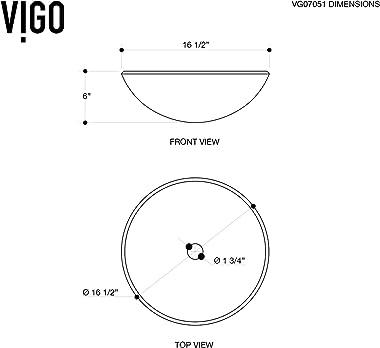 "VIGO VG07051 16.5"" L -16.5"" W -6.0"" H Gray Handmade Countertop Glass Round Vessel Bathroom Sink in Gray Onyx Fini"