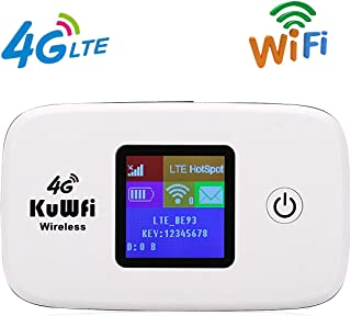 KuWFi 4G LTE Mobile Hotspot Portable WiFi Unlocked Travel Router with SIM Card Slot and TF Card Slot Support B1/B3/B5/B7/B8/B20/B38/B39/B40/B41 for Europe Middle East South America[Not for USA]