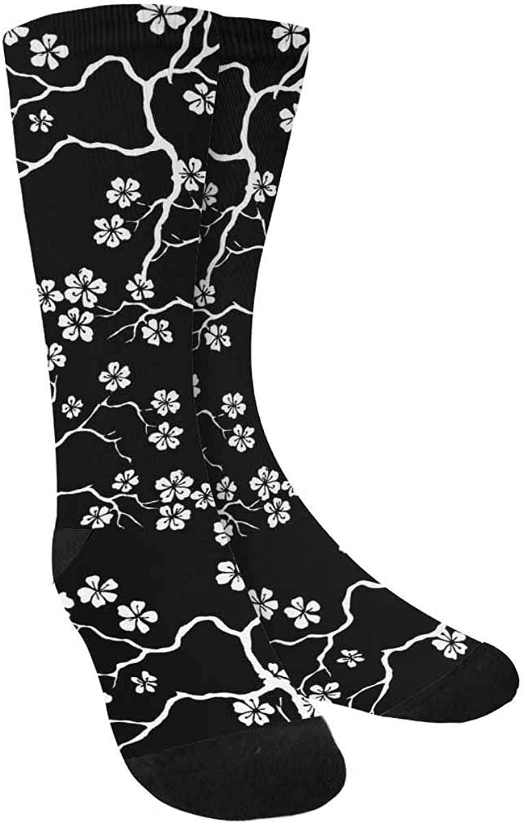 INTERESTPRINT Black & White Cherry Blossoms Sublimated Polyester Casual Crew Socks