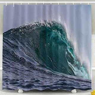Tooperue Shower Curtains, Shower Curtain for Bathroom with Hooks Waves 72×72 Inch,Eco-Friendly,No Oder,Waterproof