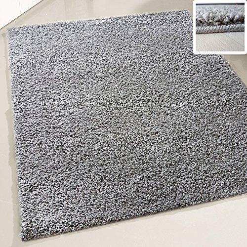 Flauschiger Teppich Langflor Hochflor Shaggy Teppiche Modern Wohnzimmer Flokati Einfarbig Uni | verschiedene Maße | Kinderzimmer & Jugendzimmer geeignet | Schadstofffrei (Grau, 70 x 250 cm)