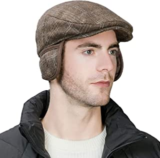 Comhats Wool Newsboy Cap Earflap Trapper Hat Winter Warm Lined Fashion Unisex 56-60CM