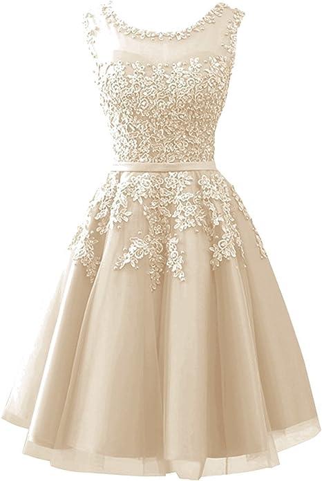 Carnivalprom Damen Abendkleider Mit Applikationen Elegant Ballkleid Brautjungfernkleider Kurz Partykleid Amazon De Bekleidung