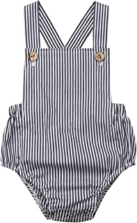 Newborn Baby 1 Piece Summer Romper Baby Girl Boy Solid Color Jumpsuit Sleeveless Backless Overalls Outfits