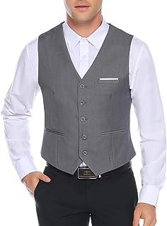 Aibrou Men's Slim Fit Suit Vest Formal 5 Button Dress Vest Business Waistcoat