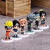 HZLQ 6 unids / Set Naruto: Naruto Uzumaki Figura de acción D animación Modelo de Personaje Estatua decoración 7-8 cm Familiares A-Segundo