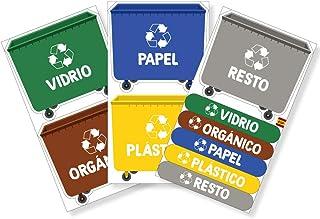 Haberdashery Online Lot de 5 étiquettes adhésives pour recyclage des déchets Autocollants pour la gestion des déchets. XL ...
