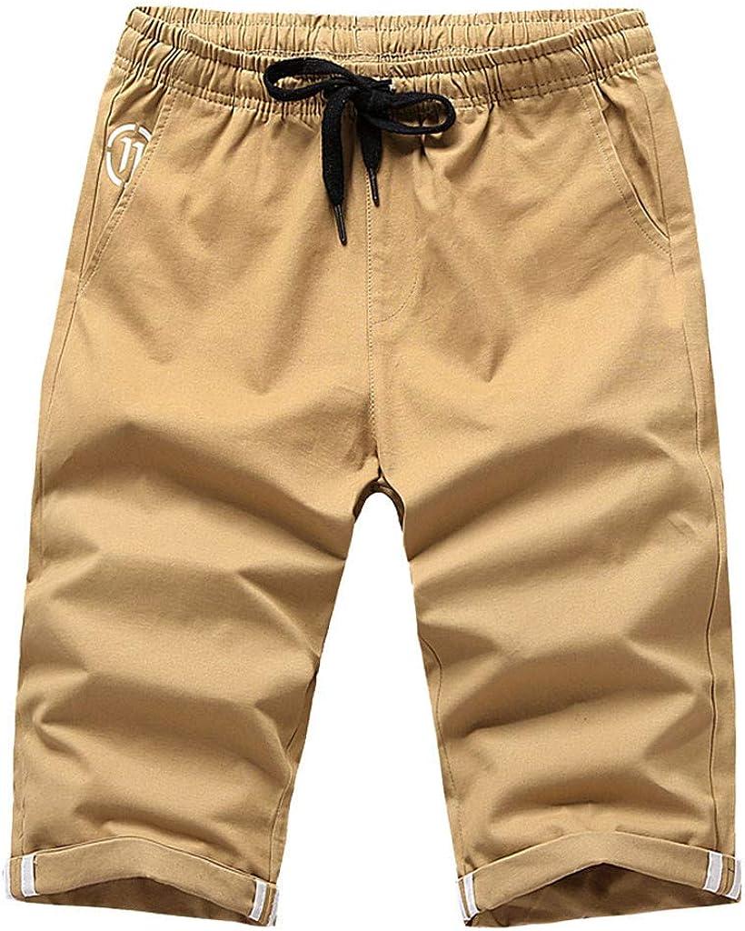 IHGTZS Shorts for Men, Fashion Men Summer Solid Trunks Board Beach Elastic Waist Casual Short Pants
