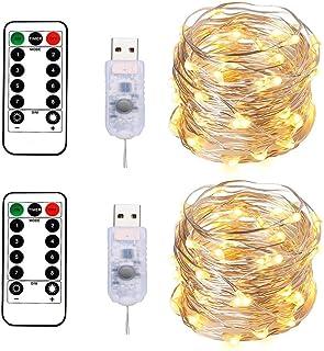 BXROIU 2 Guirlandes Lumineuses 100 LEDs 10M Fil d'argent Blanc Chaud,Prise USB avec Télécommande Lumière Etoilée pour Déco...