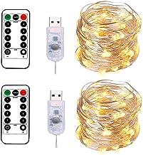 BXROIU 2 x łańcuch świetlny z 100 diodami LED w srebrnym drucie o długości 10 m, złącze USB z pilotem zdalnego sterowania,...