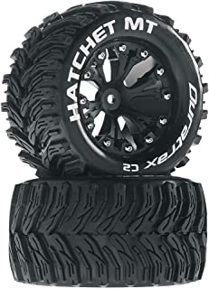 Hatchet MT 2.8 1/10 RC Monster Truck Tires with Foam Inserts: C2 Soft, Mounted, 6-Spoke Rear Wheels, Black, Set of 2