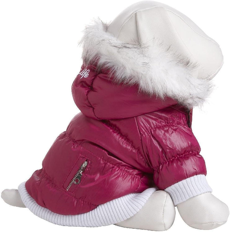 Pet Life Fashion Parka with Removable Hood  Pink Metallic  Medium