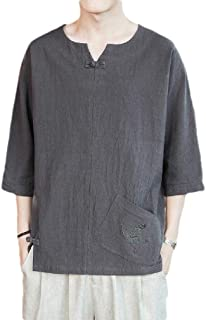 Energy Men's Plus Size Linen Chinese Style Embroidered Tees Pullover Top Dark Grey 3XL