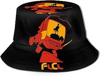 WushXiao Fashion FLCL Print Bucket Hat Summer Reversible Packable Cap Fisherman Cap for Men Women