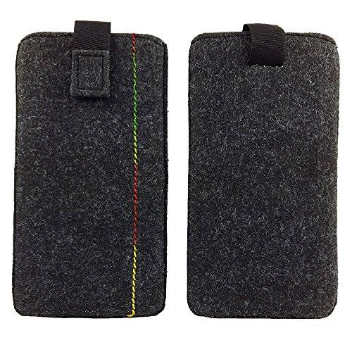 handy-point 5,0'' Filztasche Tasche Hülle aus Filz für Samsung, iPhone, Sony, Lenovo Moto, Huawei, Alcatel, Gigaset, Medion, Neffos, Geräte mit Max.14,2x7,3xx1cm (Melange Schwarz)