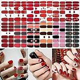 UFLF 12 Hojas Pegatinas Uñas Rojas Decorativas Fiesta Nail Art Stickers Calcomanías Uñas Adhesivas Etiquetas Engomadas para Decoración Diseños Manicura Arte de Uñas DIY San Valentín