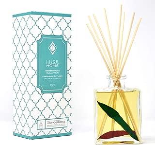 Luxe Home Winter Mint & Eucalyptus Reed Diffuser Oil   Herbal Essential Oil Blend   Elegant Home Decor   Decorative Red & Green Eucalyptus Leaves Inside The Bottle!