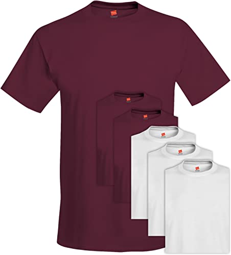Hanes 5280 Comfortsoft Hommes's 6 T-Shirt Ras du Cou 3X-grand 3 Maroon + 3 Blanc