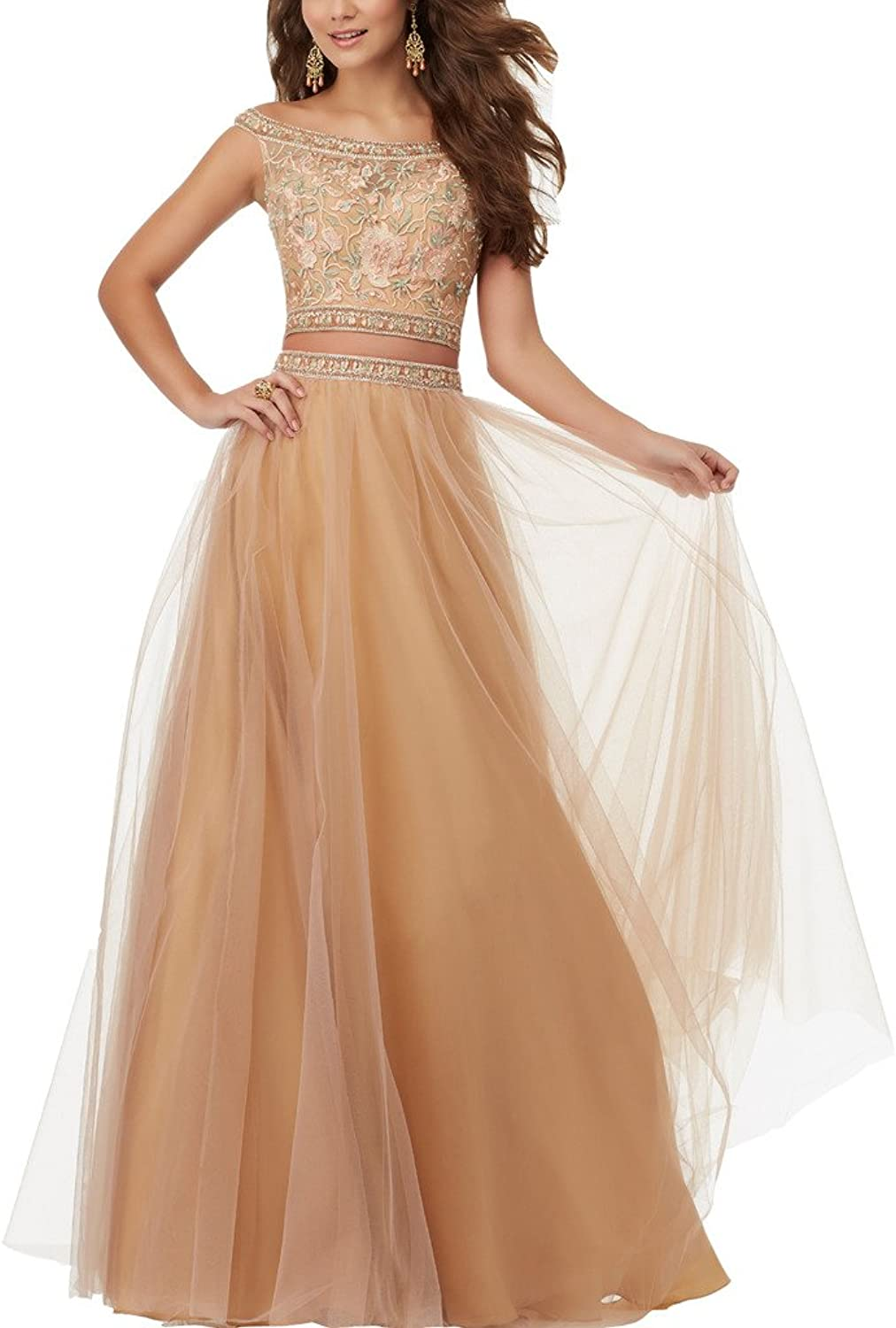 Topquality2016 Women's 2017 Lace Two Piece Prom Ball Dresses Evening Party Gown