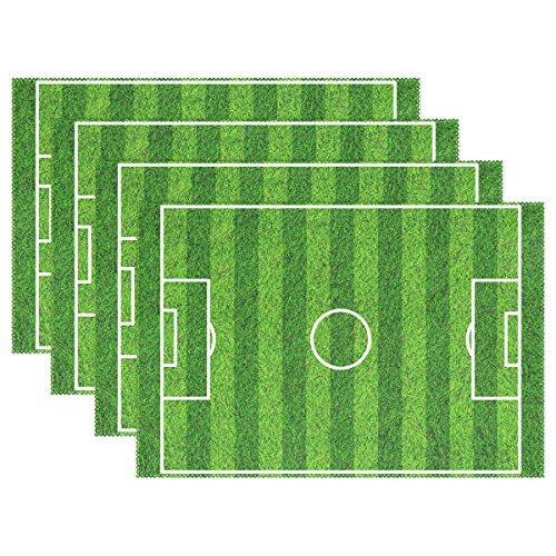 MUMIMI Manteles individuales de campo de fútbol resistentes al calor para comedor, antideslizantes, lavables, 1 pieza, Multicolor, 12x18inch