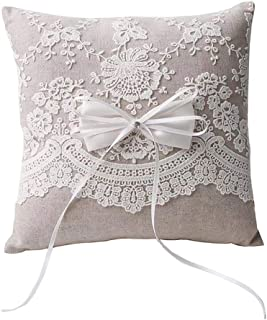 "Rimobul Wedding Ring Pillow 8.2"" x 8.2"" - New Lace"