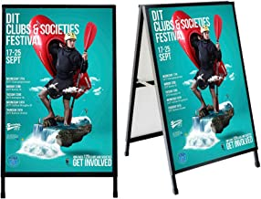 GUOHONG Folding A-Frame Sidewalk Curb Sign Double-Sided Display with Two Corrugated Plastic Slide-in Poster Boards for Outdoor Advertisement - Black Coated Steel Metal markerboards (24