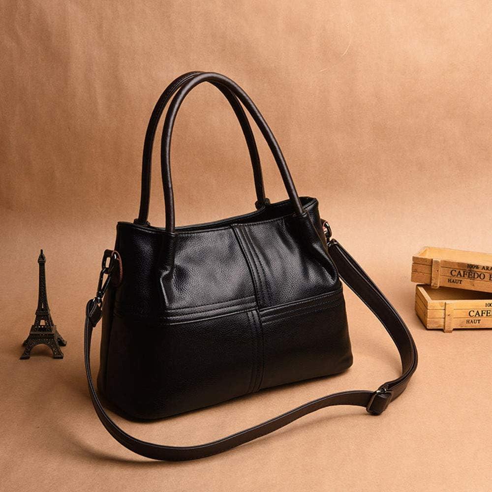 Liuxiaomiao Sac à main pour femme en cuir Sac à bandoulière Sac à bandoulière Femme Sac fourre-tout multifonction et pratique en diagonale (couleur : noir) Noir