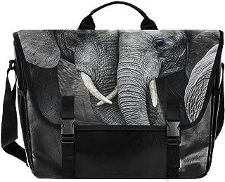 Bolsa de lona con elefante africano para cartero unisex de 15,6 pulgadas, estilo retro, para negocios, bolso de hombro, bo...