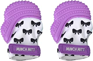 Munch Mitt Trendy Collection Teething Mitten- Original Mom Invented Teething Toy- Teether Stays on Babys Hand for Pain Relief- Ideal Baby Shower Gift with Handy Travel/Laundry Bag- 2 pk Purple Bows