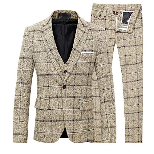 Men's 3-Piece Suit Plaid Slim Fit One Button Single-Breasted Wedding Blazer