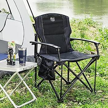 Timber Ridge Chaise Camping Pliante Ultralégère Portable Dossier Haut Rembourré avec Porte-gobelet et Sac de Transport de Jardin Pêche Noir, Support 150kg