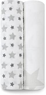 Aden and Anais Twinkle Large Classic Muslin Swaddles, Grey, White, 2 Count