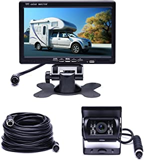 Camecho Vehicle Backup Camera 7 TFT Monitor,18 IR Night Vision Rear View Camera Without Gride Line IP 68 Waterproof, 4 Pins Aviation Extension Cable for 33FT Length RVs, Bus, Trailer,Truck