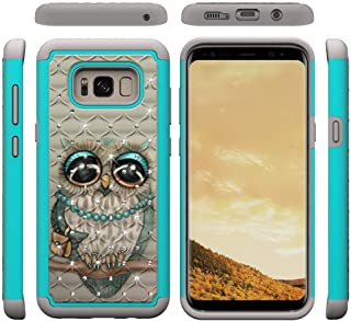 Galaxy S8 Plus Case,Shockproof Slim 2 in 1 Hybrid Case Hard PC Back Cover with Point Drill & Creative Pattern Inner Soft TPU Bumper Anti-Scratch Case Compatible with Samsung Galaxy S8 Plus -Bird