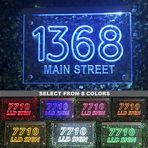 LED Illuminated Personalized Address Numbers Plaque - Modern House Plaque - Light Up House Numbers (Select from 8 Colors)