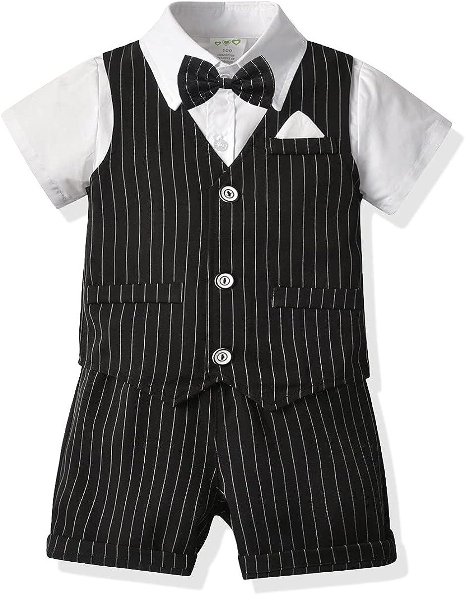 Baby Boys Formal Set Little Boys Gentleman Suit Vest+Short Set+Bow Tie 4pcs Boys Short Sleeve Wedding Clothes