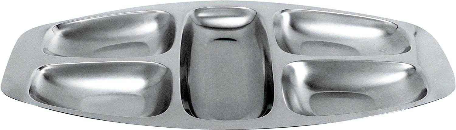 Alessi 2400 5 Section Dish, Silver