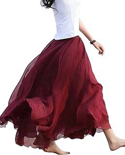 Mujer Maxi Larga Falda Bohemia Dobladillo Grande Chifón Skirt